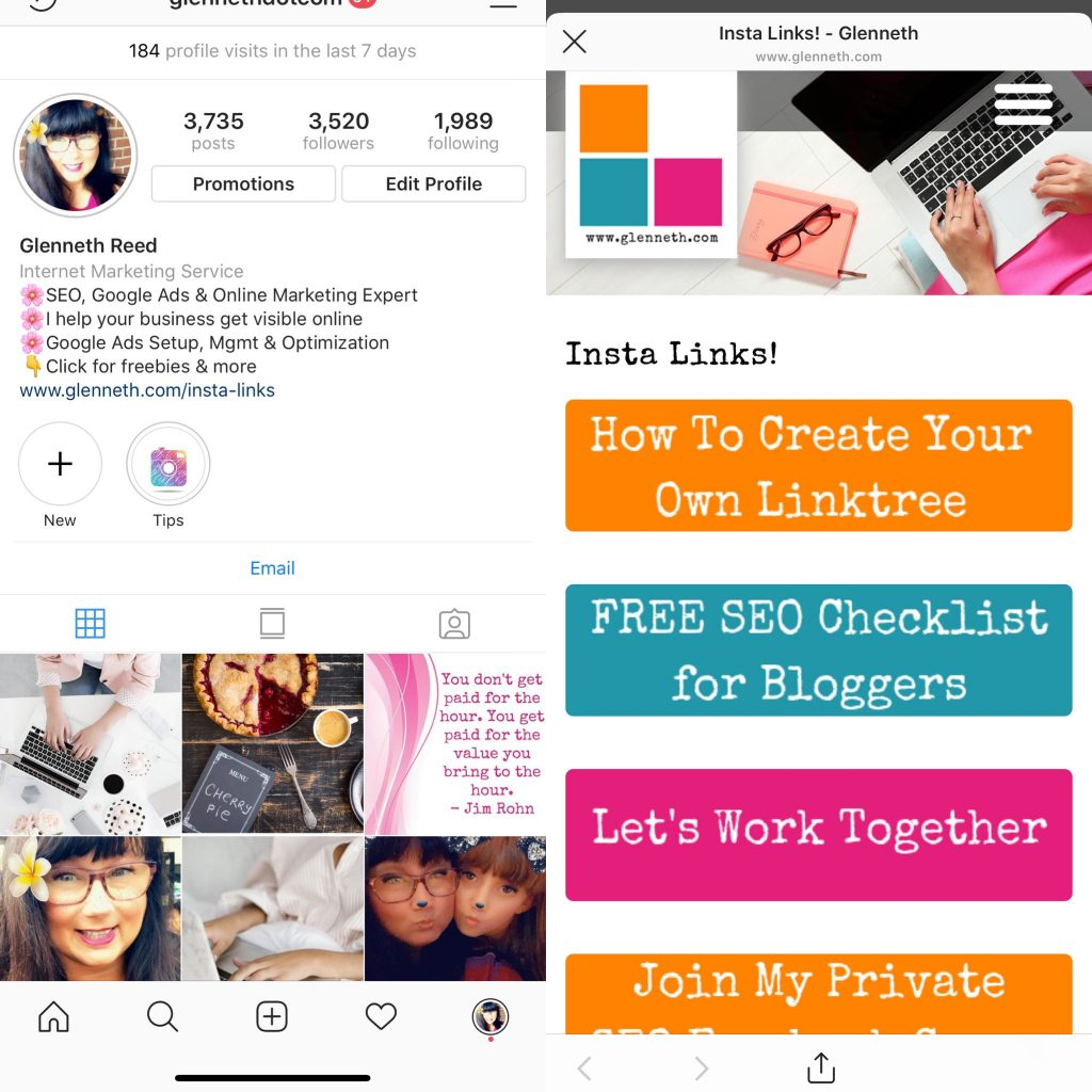 create linktree for instagram